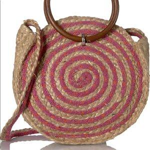 NWT Sam Edelman circus straw wooden handle bag